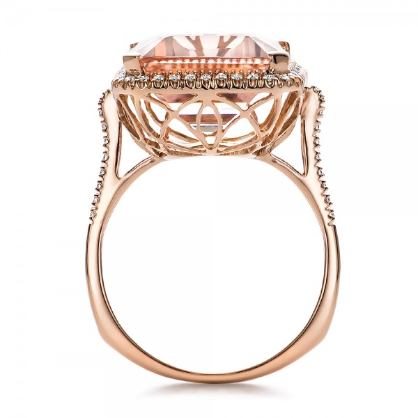 Emerald Cut Morganite and Diamond Halo Ring - Finger Through View