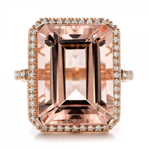 Emerald Cut Morganite and Diamond Halo Ring - Top View