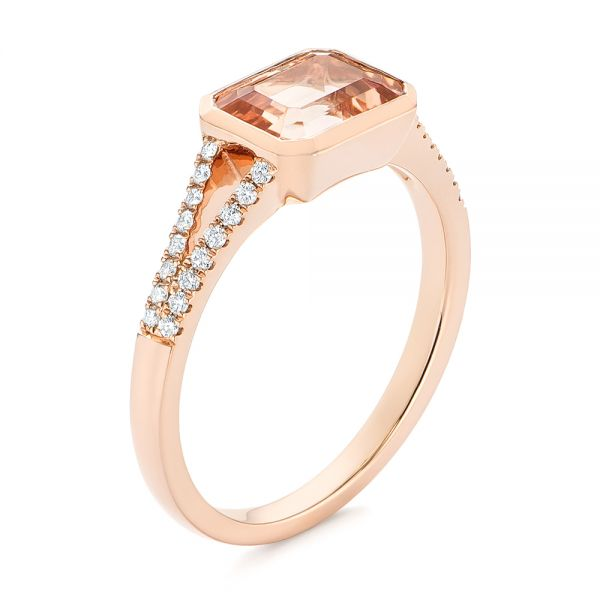 14k Rose Gold Emerald Cut Morganite And Diamond Ring - Three-Quarter View -  105021