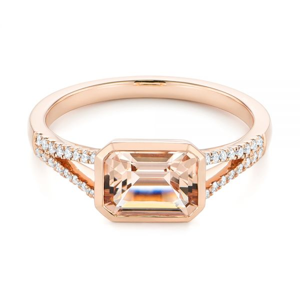 14k Rose Gold Emerald Cut Morganite And Diamond Ring - Flat View -  105021