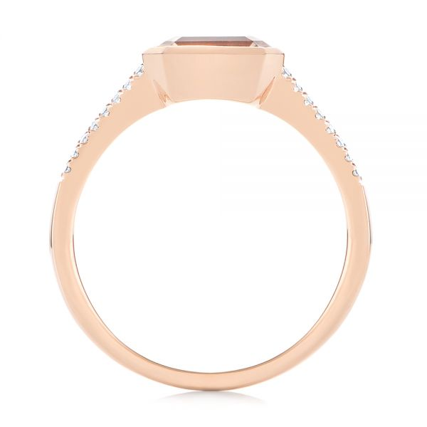 14k Rose Gold Emerald Cut Morganite And Diamond Ring - Front View -  105021