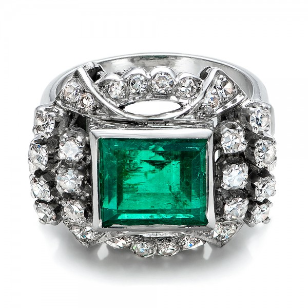 Emerald and Diamond White Gold Ring - Flat View -  100737 - Thumbnail