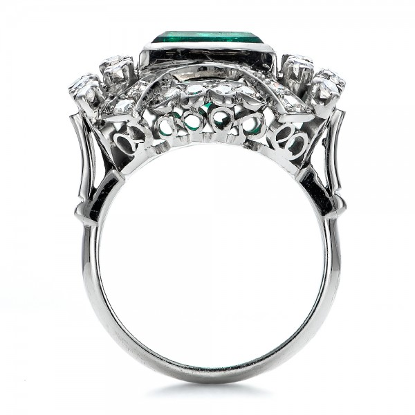 Emerald and Diamond White Gold Ring - Front View -  100737 - Thumbnail