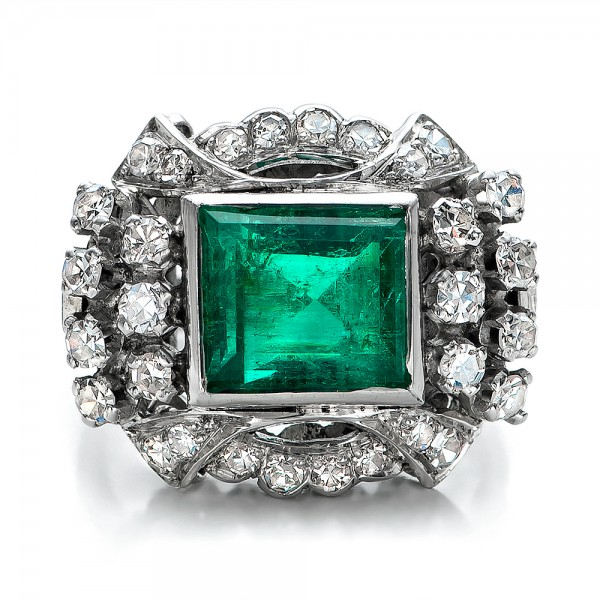 Emerald and Diamond White Gold Ring - Top View -  100737 - Thumbnail
