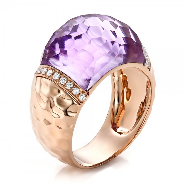 Fancy Cut Amethyst And Diamond Ring - Three-Quarter View -