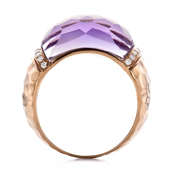 Fancy Cut Amethyst And Diamond Ring - Front View -