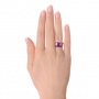 Fancy Cut Amethyst And Diamond Ring - Hand View -  100457 - Thumbnail