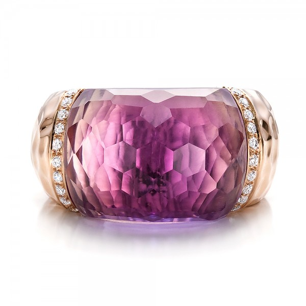 Fancy Cut Amethyst And Diamond Ring - Top View -