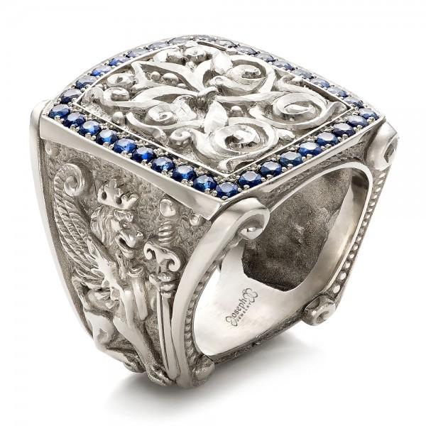 fleur de lis hand carved blue sapphire men 39 s ring 101509