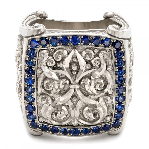 Fleur de Lis Hand-carved Blue Sapphire Men's Ring - Laying View