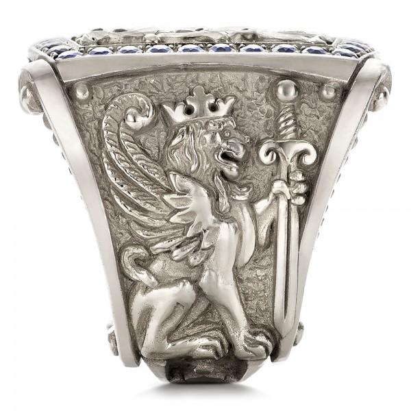 Fleur De Lis Hand Carved Blue Sapphire Men S Ring 101509