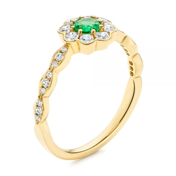 Floral Emerald and Diamond Gemstone Ring - Image