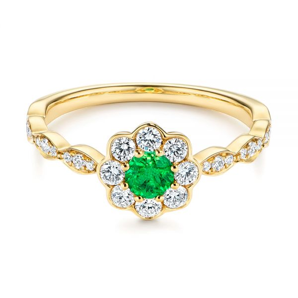 14k Yellow Gold Floral Emerald And Diamond Gemstone Ring - Flat View -  106008 - Thumbnail