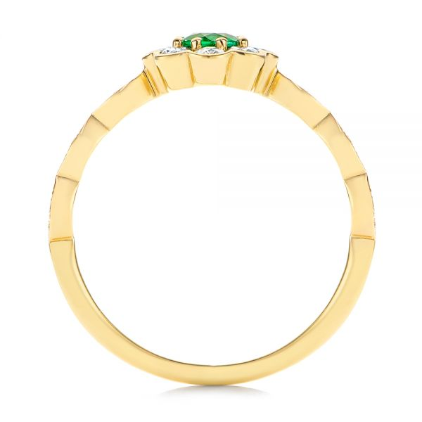 14k Yellow Gold Floral Emerald And Diamond Gemstone Ring - Front View -  106008 - Thumbnail