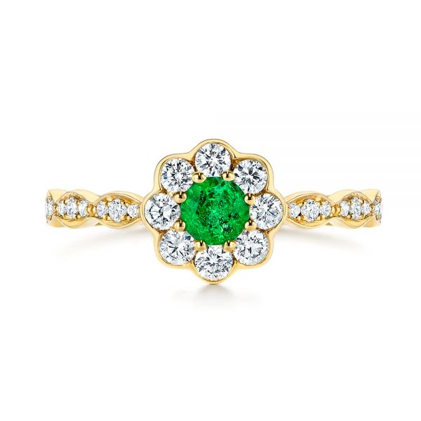 14k Yellow Gold Floral Emerald And Diamond Gemstone Ring - Top View -  106008 - Thumbnail