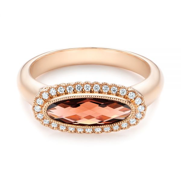 14k Rose Gold Garnet And Diamond Halo Fashion Ring - Flat View -  104579