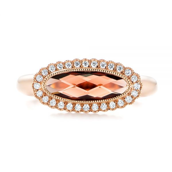 14k Rose Gold Garnet And Diamond Halo Fashion Ring - Top View -  104579