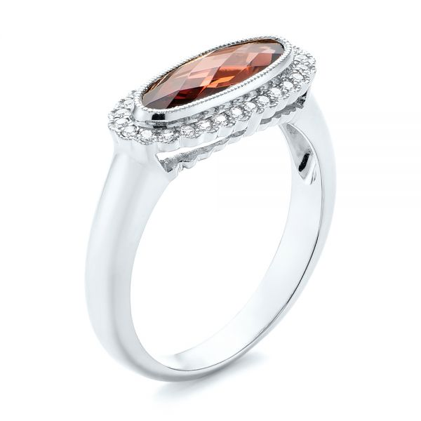 14k White Gold 14k White Gold Garnet And Diamond Halo Fashion Ring - Three-Quarter View -  104579 - Thumbnail
