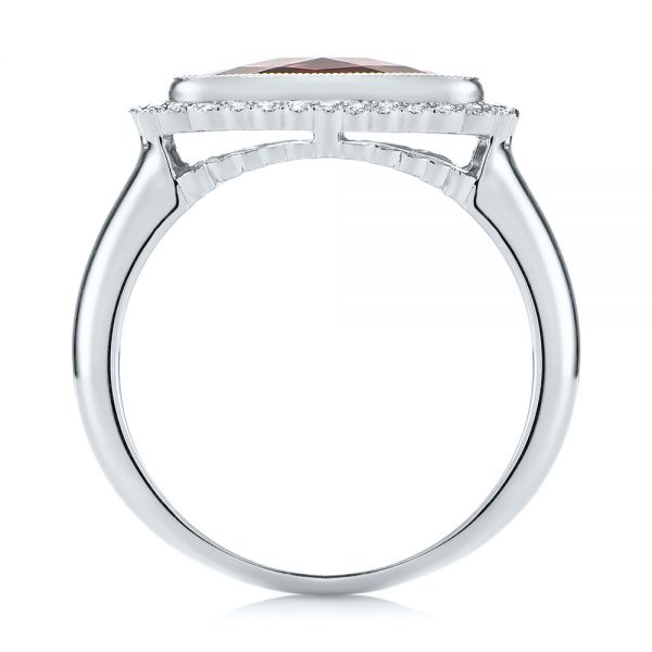14k White Gold 14k White Gold Garnet And Diamond Halo Fashion Ring - Front View -  104579 - Thumbnail