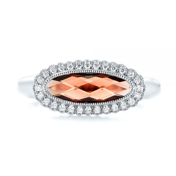 14k White Gold 14k White Gold Garnet And Diamond Halo Fashion Ring - Top View -  104579 - Thumbnail