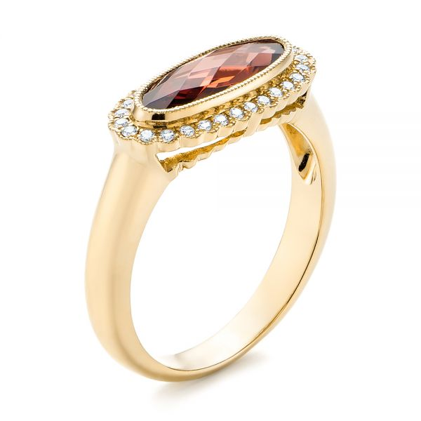 14k Yellow Gold 14k Yellow Gold Garnet And Diamond Halo Fashion Ring - Three-Quarter View -  104579 - Thumbnail