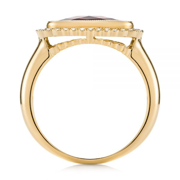 14k Yellow Gold 14k Yellow Gold Garnet And Diamond Halo Fashion Ring - Front View -  104579 - Thumbnail