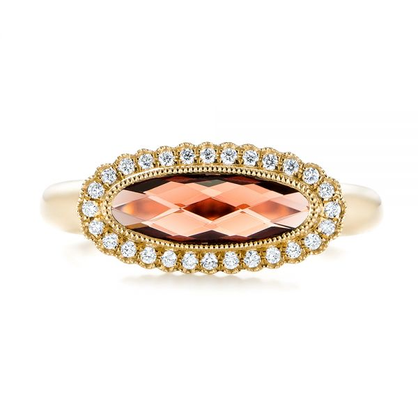 14k Yellow Gold 14k Yellow Gold Garnet And Diamond Halo Fashion Ring - Top View -  104579 - Thumbnail