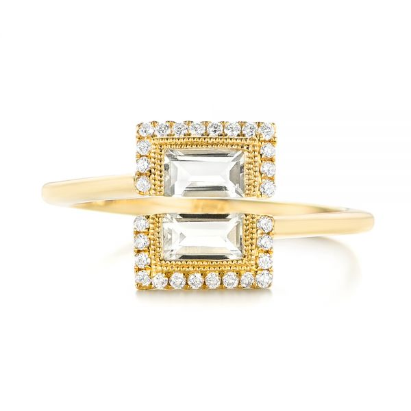 Green Amethyst and Diamond Fashion Ring - Top View -  103677 - Thumbnail