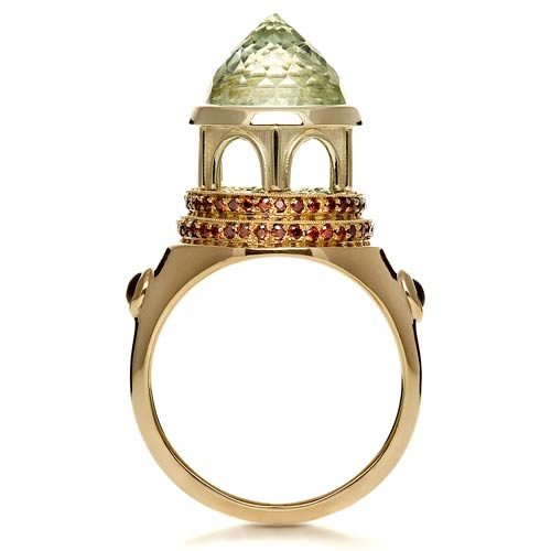 14K Gold Green Inverted Topaz Pavillion Ring - Flat View -  1108 - Thumbnail
