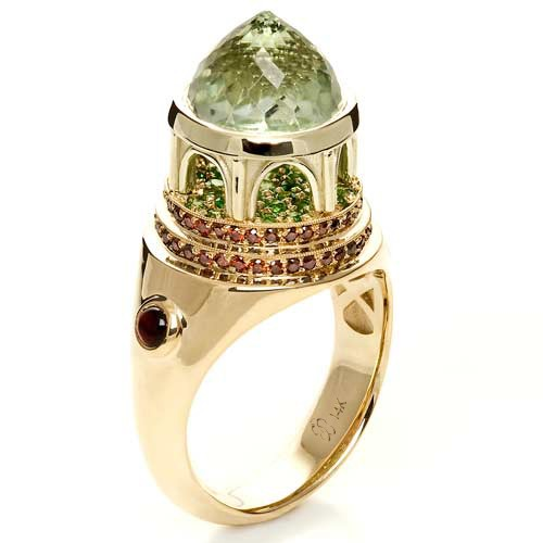 14K Gold Green Inverted Topaz Pavillion Ring - Side View -  1108