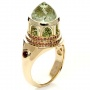 14K Gold Green Inverted Topaz Pavillion Ring - Side View -  1108 - Thumbnail