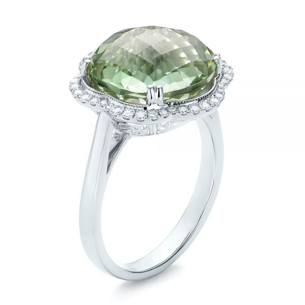 Green Quartz Checkerboard and Diamond Halo Ring - Image