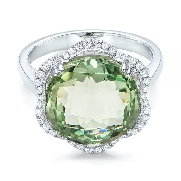 Green Quartz Checkerboard And Diamond Halo Ring - Flat View -
