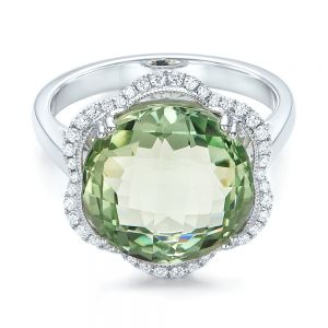 Green Quartz Checkerboard and Diamond Halo Ring