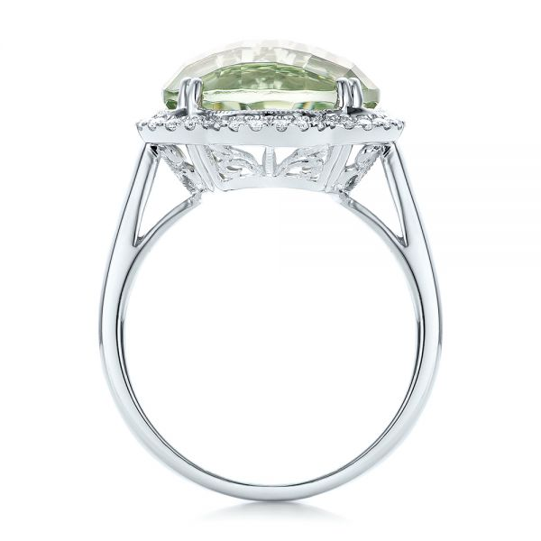 Green Quartz Checkerboard And Diamond Halo Ring - Front View -