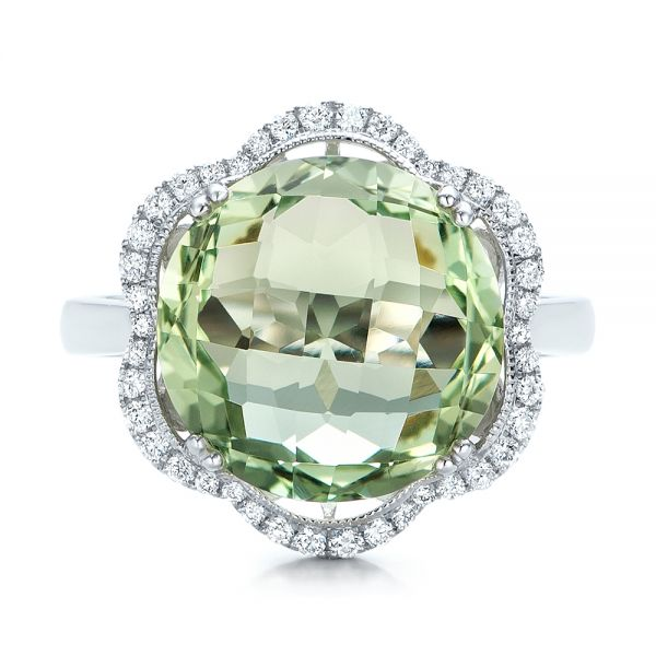 Green Quartz Checkerboard and Diamond Halo Ring - Top View -  101939 - Thumbnail