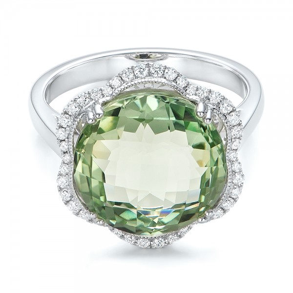 Green Quartz Checkerboard and Diamond Halo Ring - Laying View