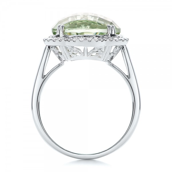 Green Quartz Checkerboard and Diamond Halo Ring - Finger Through View