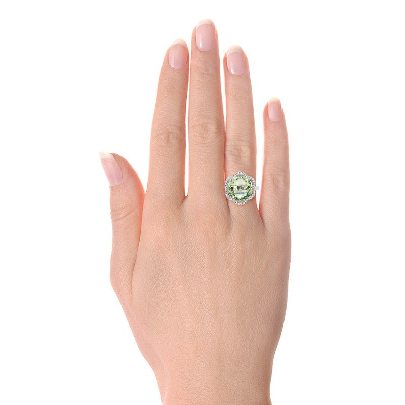 Green Quartz Checkerboard and Diamond Halo Ring - Hand View -  101939 - Thumbnail