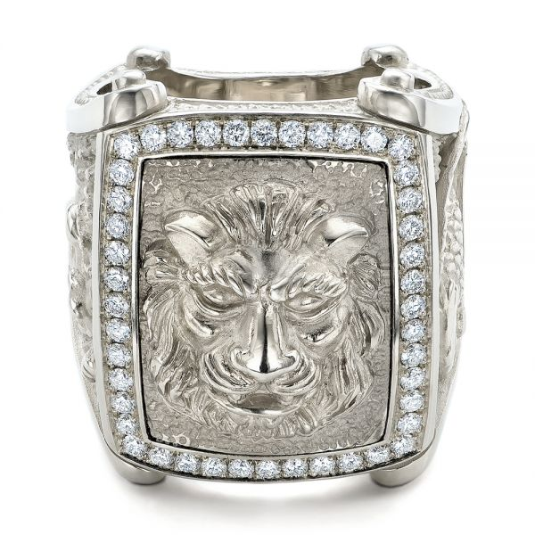 14k White Gold Lion's Head Hand Carved Ring - Flat View -  101511