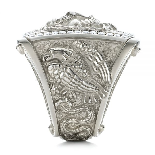 14k White Gold Lion's Head Hand Carved Ring - Side View -  101511