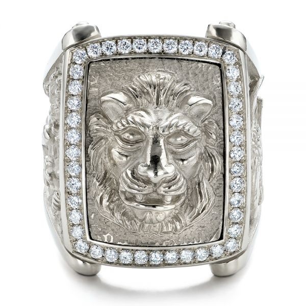 14k White Gold Lion's Head Hand Carved Ring - Top View -  101511