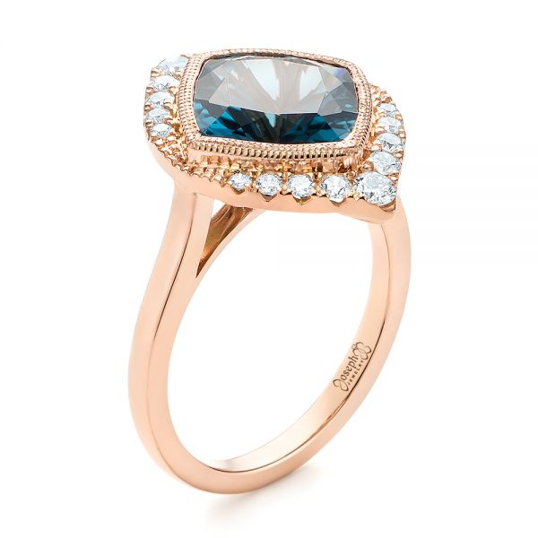 18k Rose Gold London Blue Topaz And Diamond Fashion Ring - Three-Quarter View -