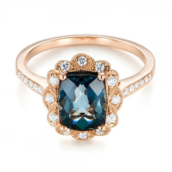 14k Rose Gold London Blue Topaz And Diamond Fashion Ring - Flat View -