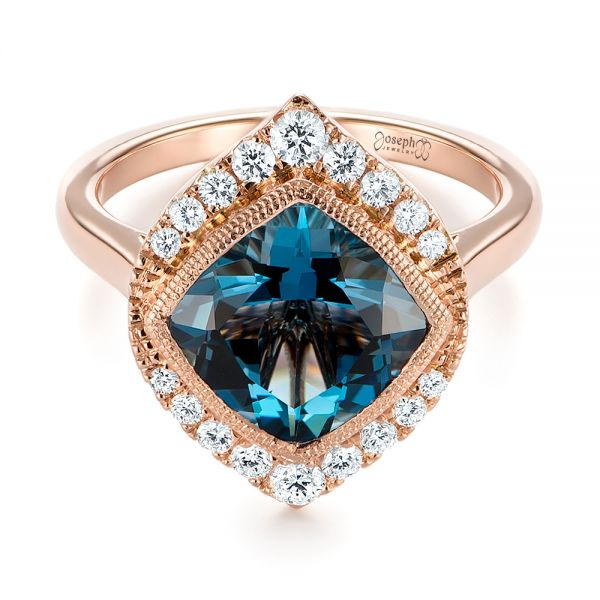 18k Rose Gold London Blue Topaz And Diamond Fashion Ring - Flat View -