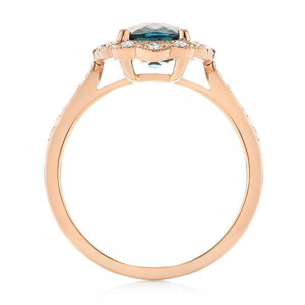 14k Rose Gold London Blue Topaz And Diamond Fashion Ring - Front View -