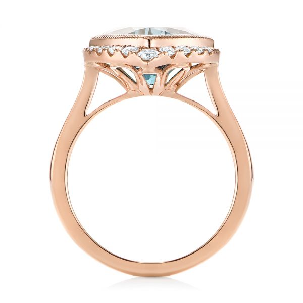 18k Rose Gold London Blue Topaz And Diamond Fashion Ring - Front View -