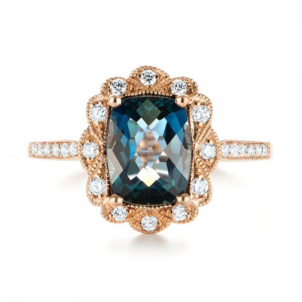 14k Rose Gold London Blue Topaz And Diamond Fashion Ring - Top View -