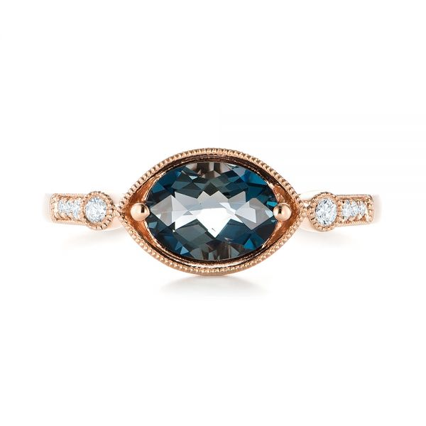London Blue Topaz and Diamond Fashion Ring - Top View -  103765 - Thumbnail