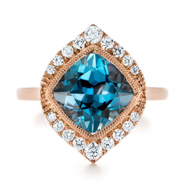 18k Rose Gold London Blue Topaz And Diamond Fashion Ring - Top View -